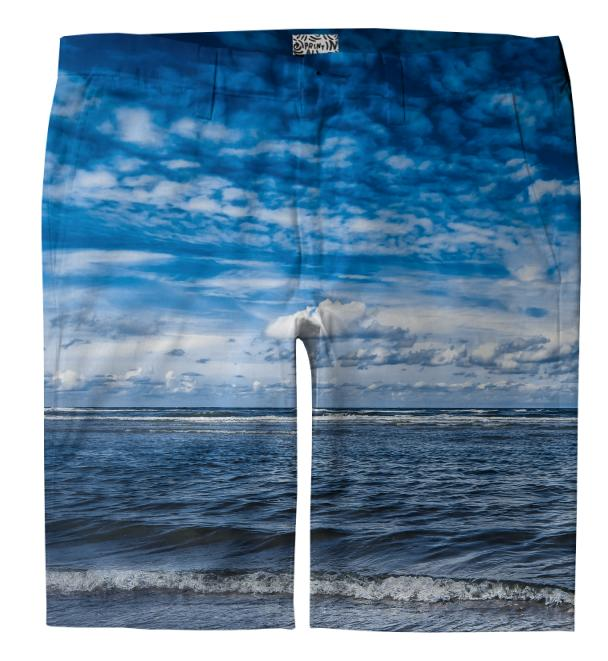 Cloudy day on the beach Trouser Shorts