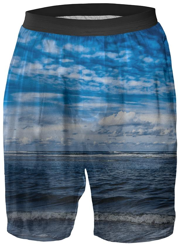 Cloudy day on the beach Boxer Shorts