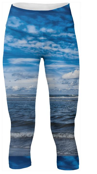 Cloudy day on the beach Yoga Pants