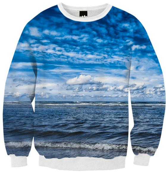 Cloudy day on the beach Ribbed Sweatshirt