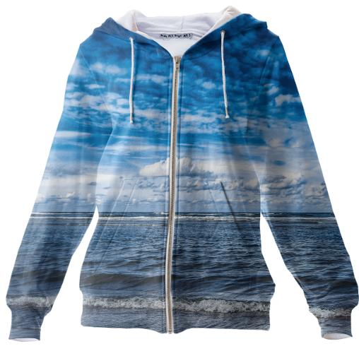 Cloudy day on the beach Zip Up Hoodie