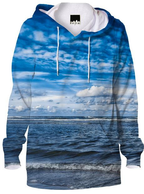 Cloudy day on the beach Hoodie