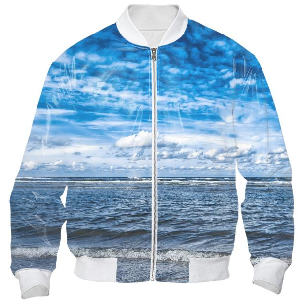Cloudy day on the beach Bomber Jacket