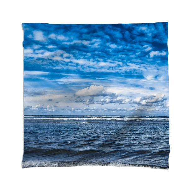 Cloudy day on the beach Scarf