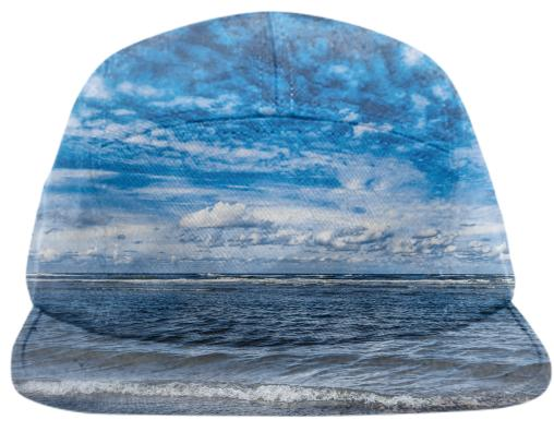 Cloudy day on the beach Baseball Hat