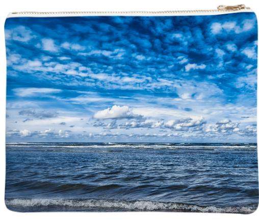 Cloudy day on the beach Neoprene Clutch