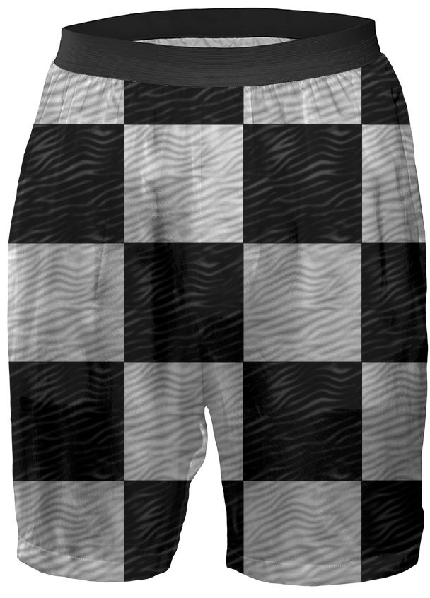 Wavy B W Checkerboard Shorts