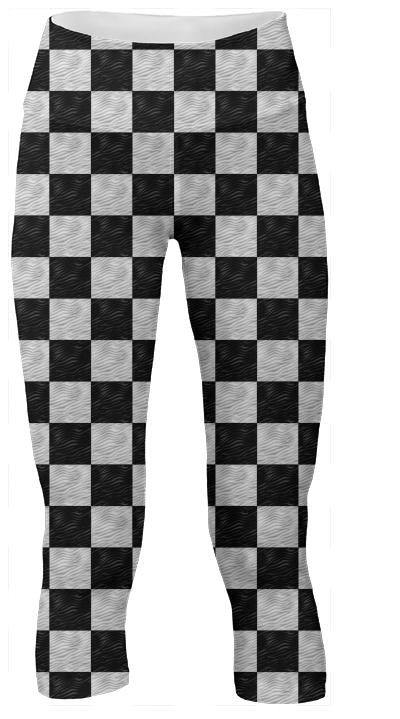 Wavy B W Checkerboard Yoga Pants