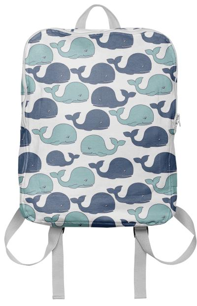Blue Cartoon Whales on White