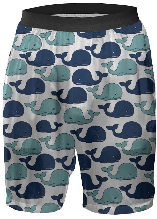 Blue Whales on White Boxer Shorts