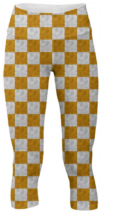 Golden Yellow Wavy Checkerboard