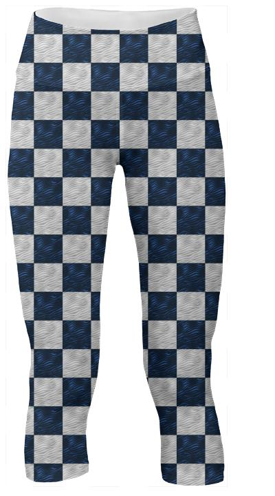 Bright Blue Wavy Checkerboard