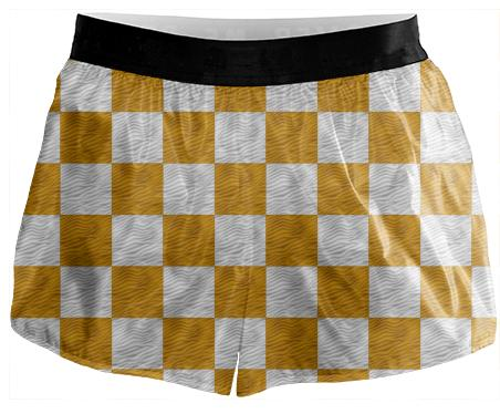 Yellow Gold Wavy Checkerboard Runnign Shorts