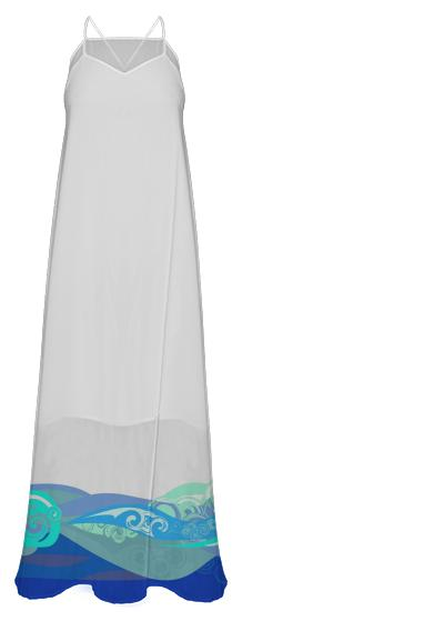 Blue Abstract Wave Hem