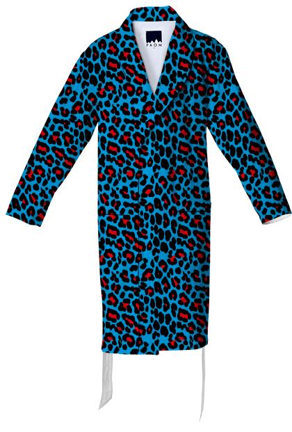 Abstract Leopard print blue red