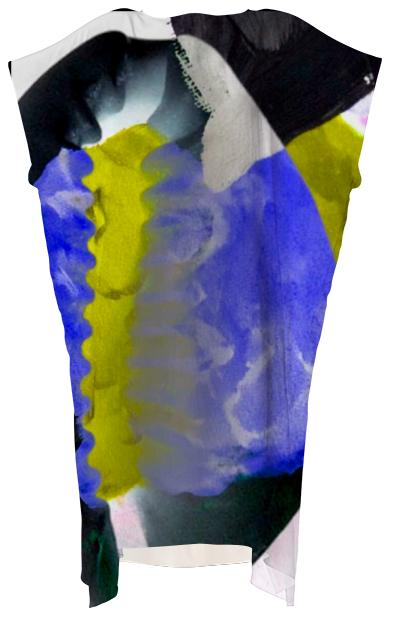Yellow Blue Cowrie Flow Dress