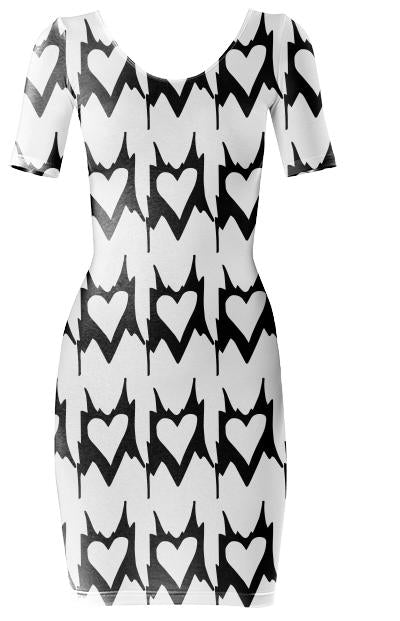 Abstract Heart Print Dress