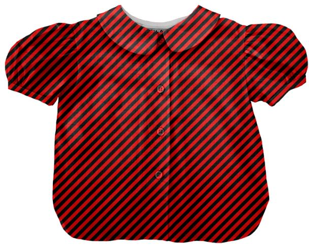 Black Red Small Stripe Blouse