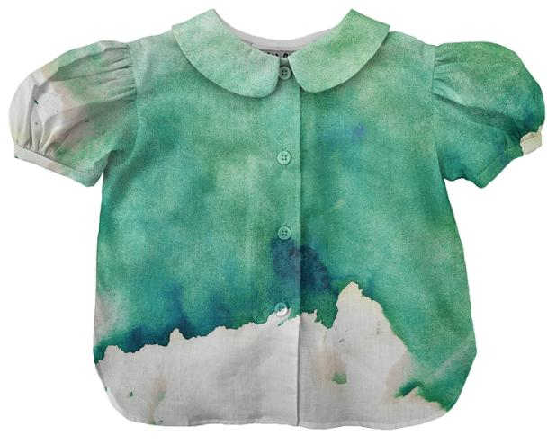 Green Watercolor Kids Blouse 2