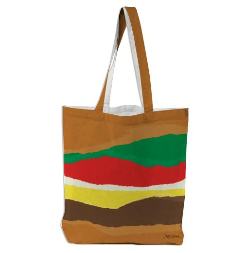 PAOM, Print All Over Me, digital print, design, fashion, style, collaboration, nymag, Tote Bag, Tote-Bag, ToteBag, Abstract, Burger, autumn winter spring summer, unisex, Poly, Bags