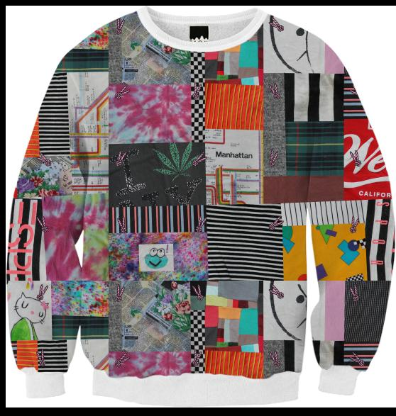 PAOM, Print All Over Me, digital print, design, fashion, style, collaboration, annie-larson, annie larson, Ribbed Sweatshirt, Ribbed-Sweatshirt, RibbedSweatshirt, Crazy, Quilt, autumn winter, unisex, Poly, Tops