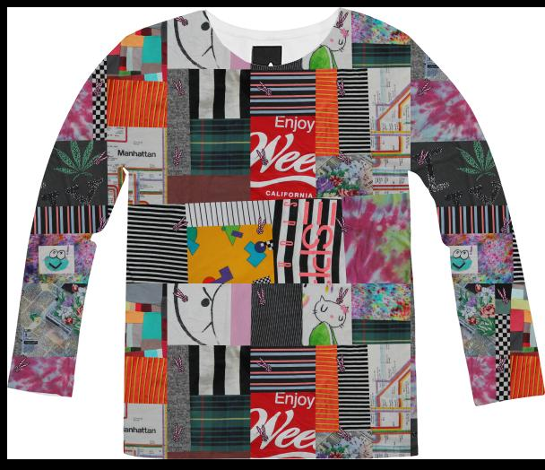 PAOM, Print All Over Me, digital print, design, fashion, style, collaboration, annie-larson, annie larson, Long Sleeve Shirt, Long-Sleeve-Shirt, LongSleeveShirt, Crazy, Quilt, autumn winter, unisex, Poly, Tops