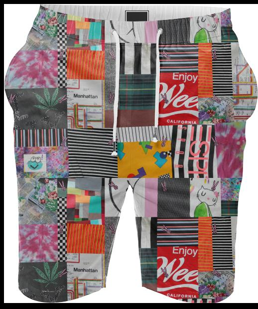 PAOM, Print All Over Me, digital print, design, fashion, style, collaboration, annie-larson, annie larson, Summer Short, Summer-Short, SummerShort, Crazy, Quilt, spring summer, unisex, Cotton, Bottoms