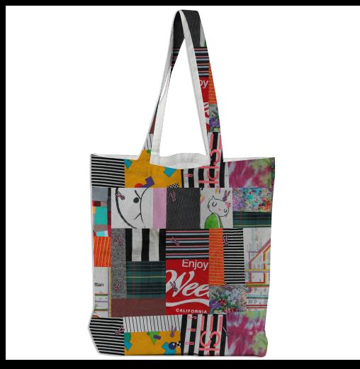 PAOM, Print All Over Me, digital print, design, fashion, style, collaboration, annie-larson, annie larson, Tote Bag, Tote-Bag, ToteBag, Crazy, Quilt, autumn winter spring summer, unisex, Poly, Bags