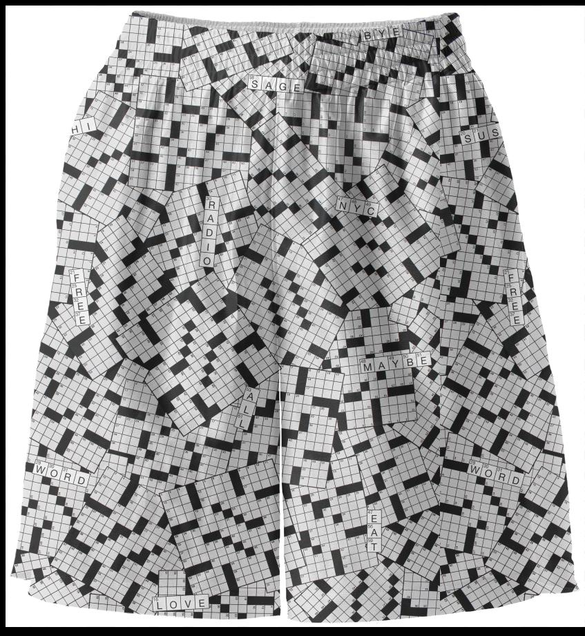 PAOM, Print All Over Me, digital print, design, fashion, style, collaboration, annie-larson, annie larson, Basketball Shorts, Basketball-Shorts, BasketballShorts, Crossword, spring summer, unisex, Poly, Bottoms
