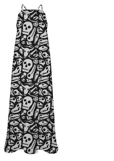 Skulls Chiffon Maxi Dress