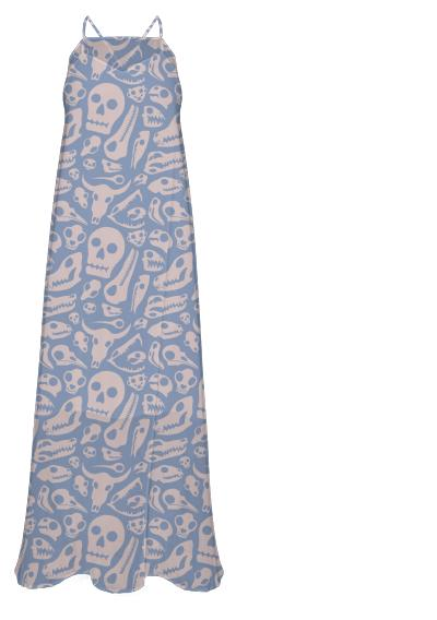Soft Skulls Chiffon Maxi Dress