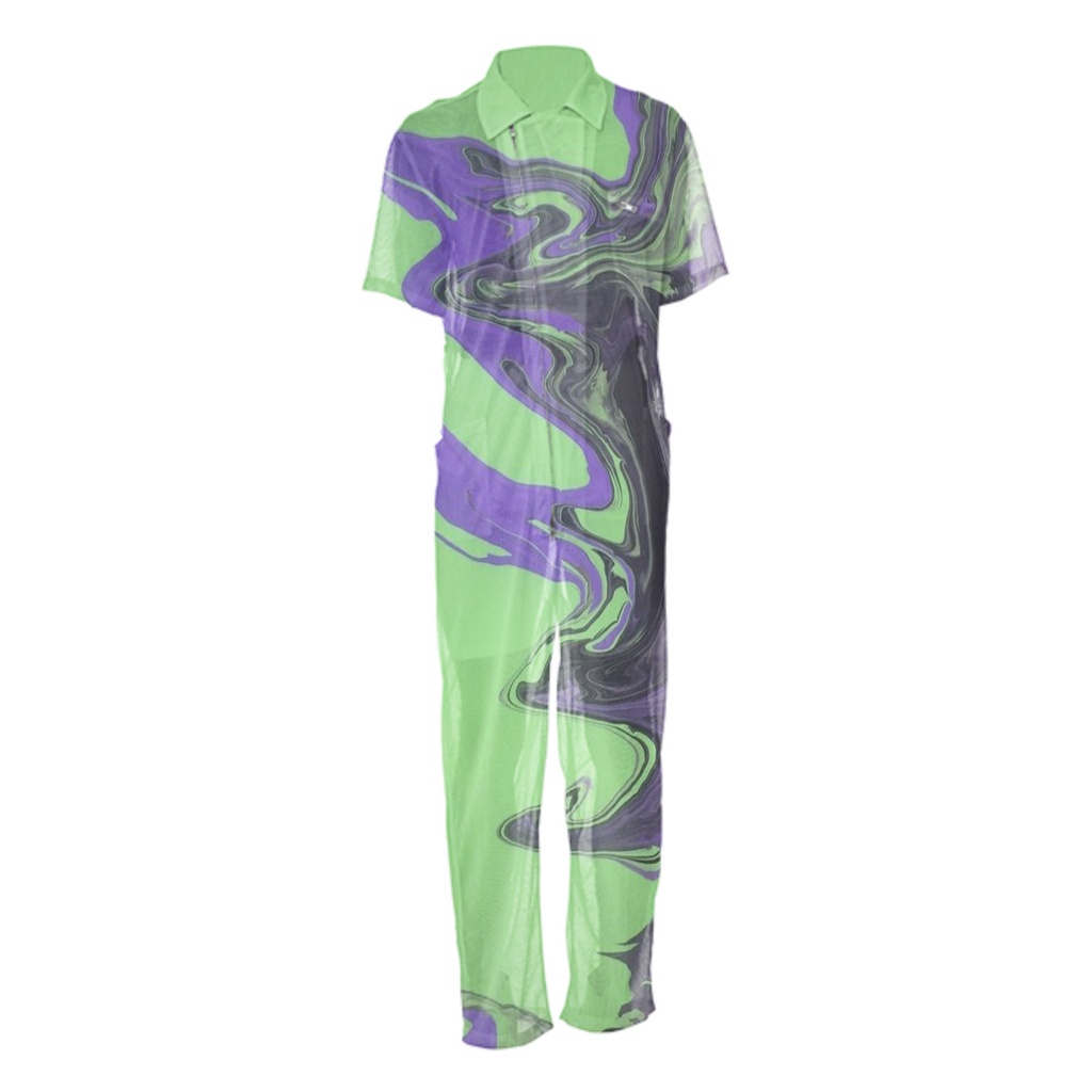 GREEN X PURPLE ACID JUMPSUIT by Tyreikandrew®️
