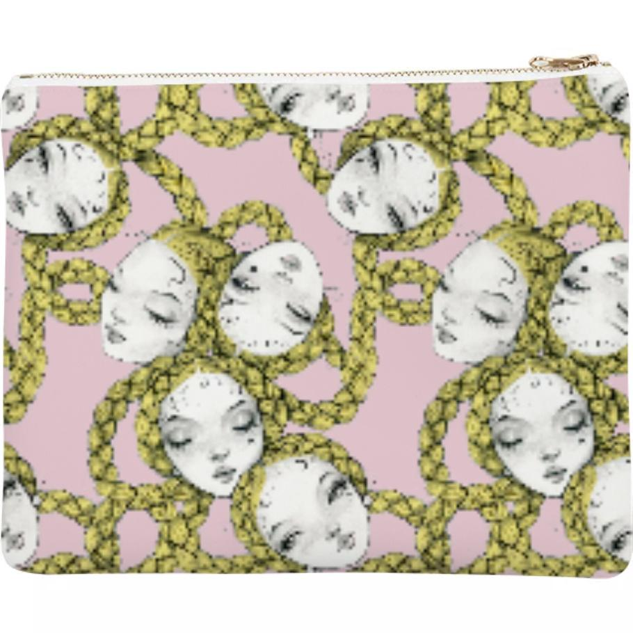 PAOM, Print All Over Me, digital print, design, fashion, style, collaboration, pidgin-doll, pidgin doll, Neoprene Clutch, Neoprene-Clutch, NeopreneClutch, Pidgin, Braid, Chain, Ballet, Pink, autumn winter spring summer, unisex, Neoprene, Bags