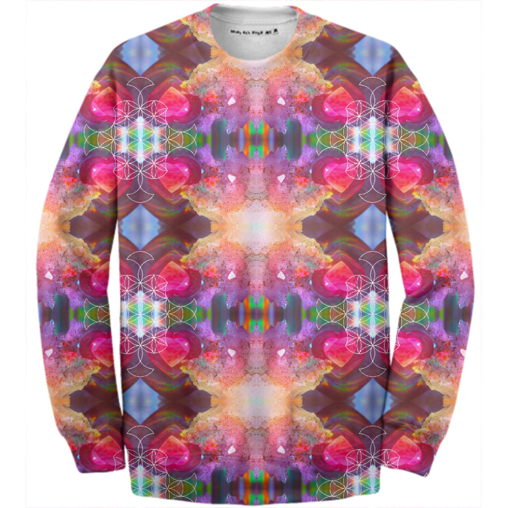 rainbow amethyst and rose quartz crystal rainbow mandala ~ cotton sweatshirt ~ style 03