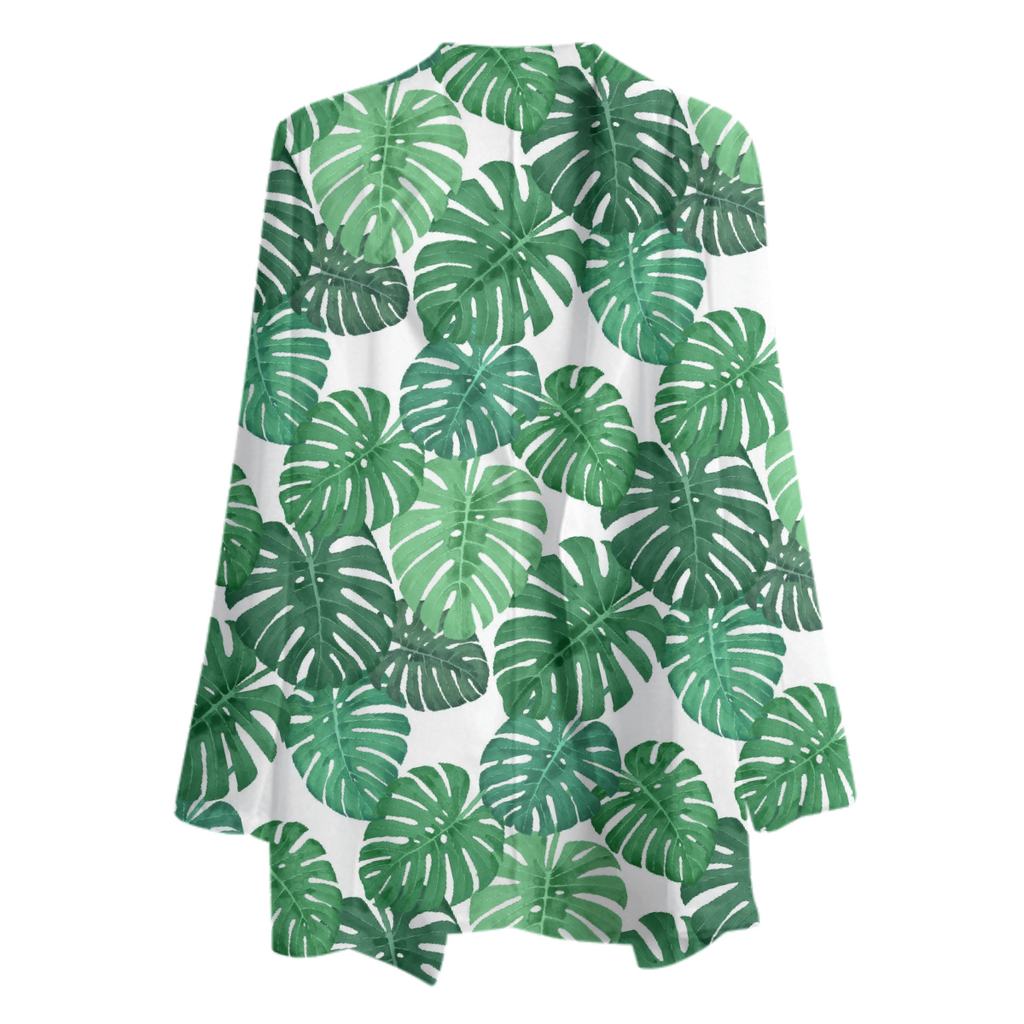 Monstera Jungle Chiffon Blazer by Frank-Joseph