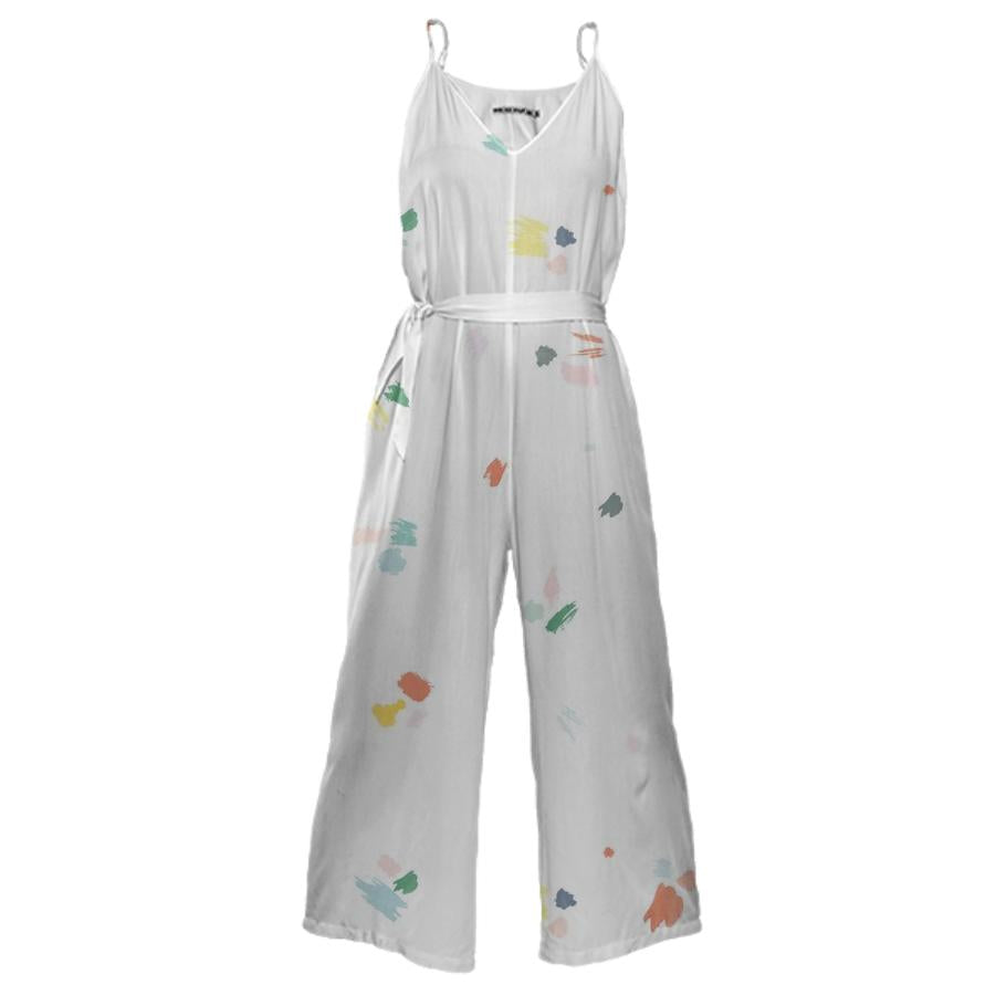 PAOM, Print All Over Me, digital print, design, fashion, style, collaboration, sugarandcloth, Tie Waist Jumpsuit, Tie-Waist-Jumpsuit, TieWaistJumpsuit, Paint, Splatter, autumn winter spring summer, unisex, Poly, One Piece