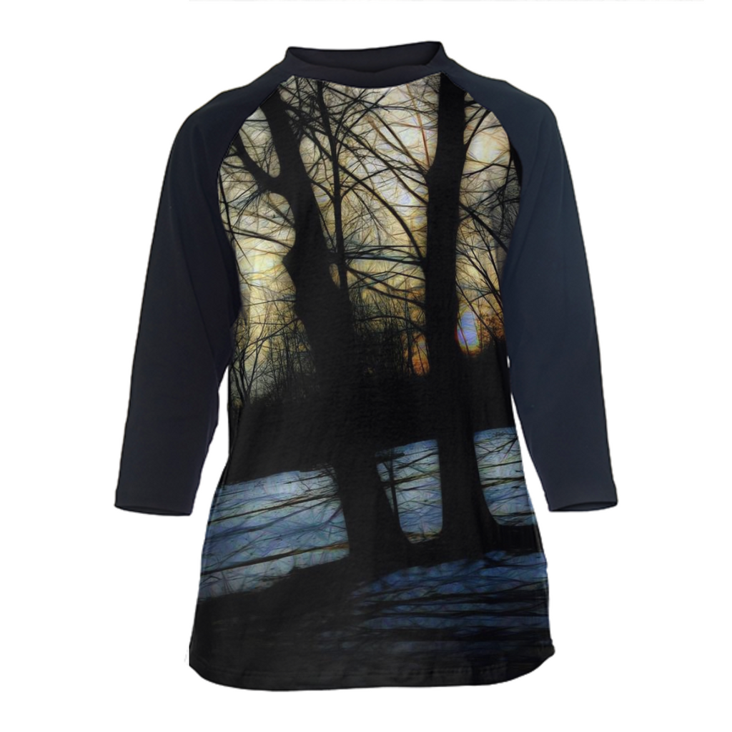 Winter Landscape Sunset Drive Baseball T-Shirt