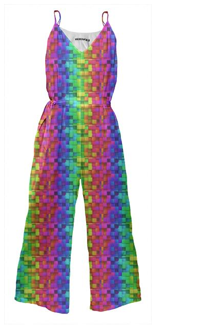 Abstract Waist Tie Jumpsuit