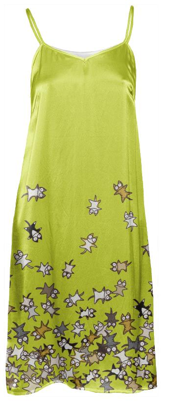 Lots of Cats Yellow green Slip Dress