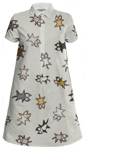 Lots of Cats Mini Shirt Dress