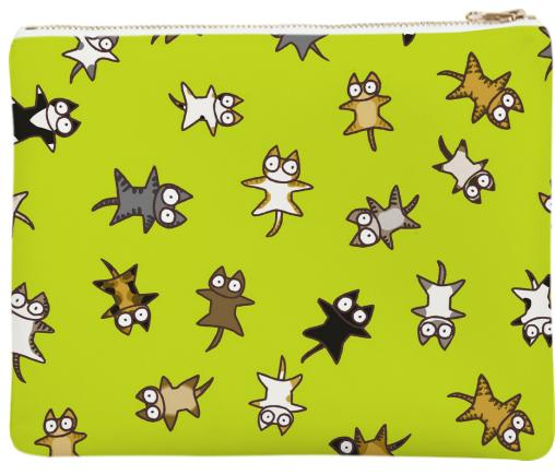 Lots of Cats Yellow green Neoprene Clutch