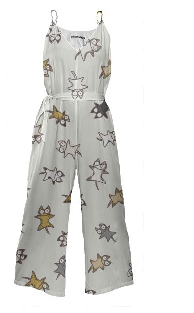 Lots of Cats Tie Waist Jumpsuit