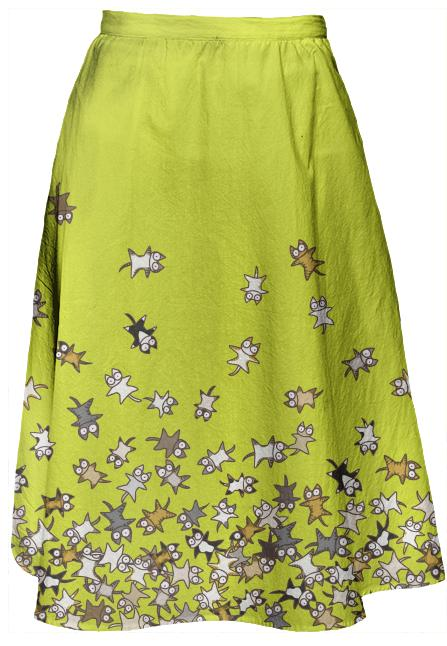 Lots of Cats Yellow green Midi Skirt