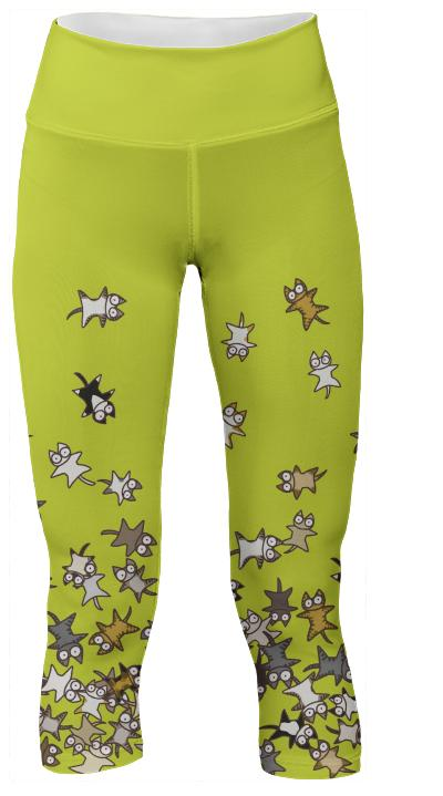 Lots of Cats Yellow green Yoga Pants