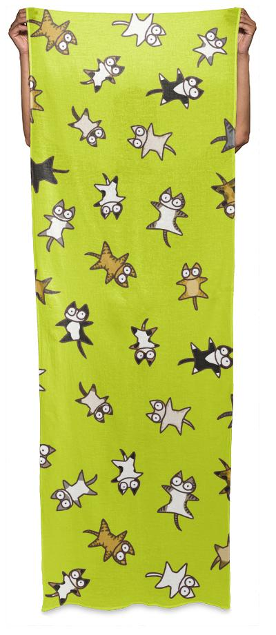 Lots of Cats Yellow green Wrap Scarf