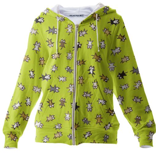 Lots of Cats Yellow green Zip Up Hoodie