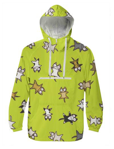 Lots of Cats Yellow green Windbreaker