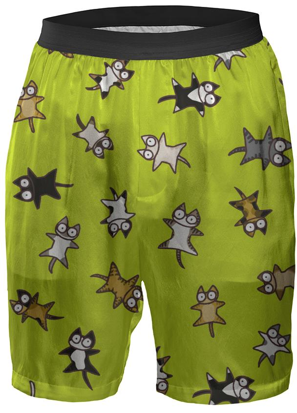 Lots of Cats Yellow green Boxer Shorts