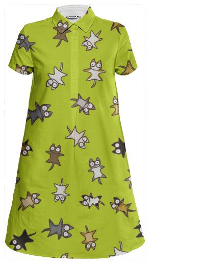Lots of Cats Yellow green Mini Shirt Dress