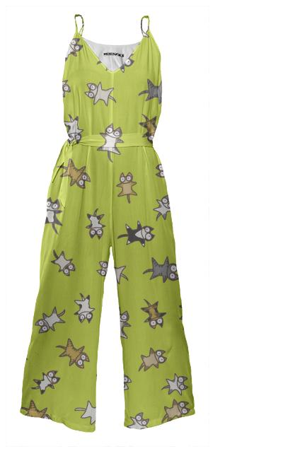 Lots of Cats Yellow green Tie Waist Jumpsuit